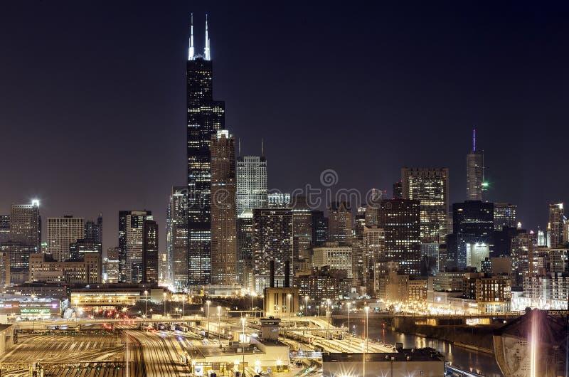 街市芝加哥-夜视图 免版税图库摄影