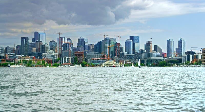 街市西雅图美丽的景色从湖联合的 免版税图库摄影