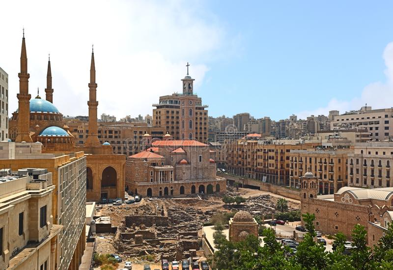 街市贝鲁特地平线,黎巴嫩 库存照片