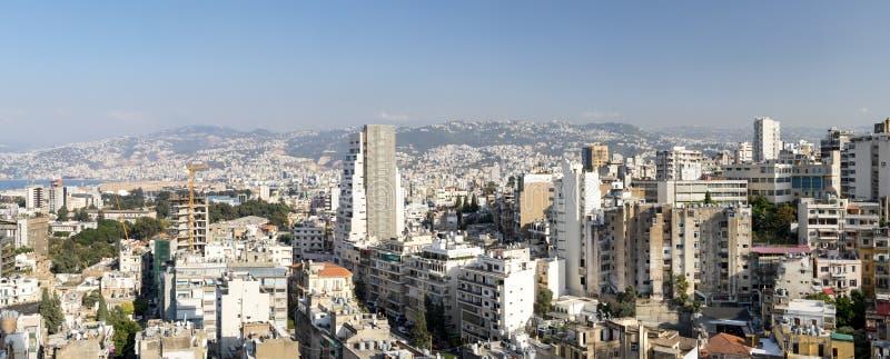 街市贝鲁特黎巴嫩全景地平线视图  免版税库存照片