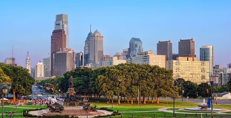 街市费城PA都市风景城市地平线 免版税库存照片