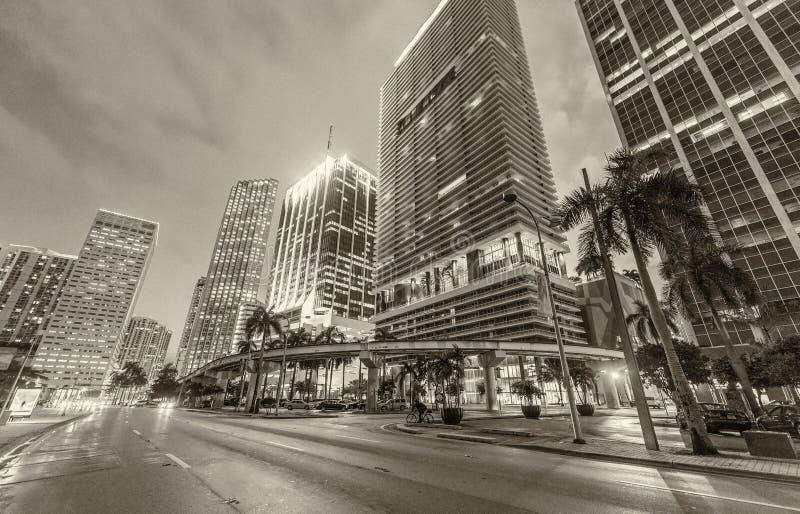 街市迈阿密大厦黑白看法在日落的 库存照片