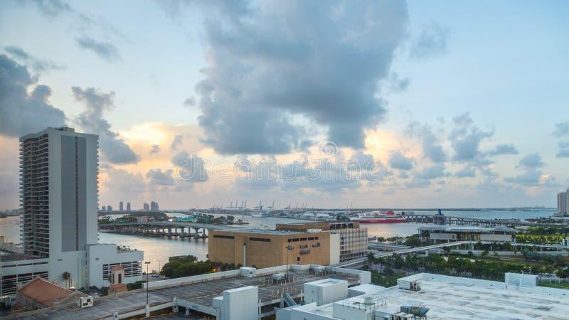街市迈阿密的鸟瞰图  库存照片