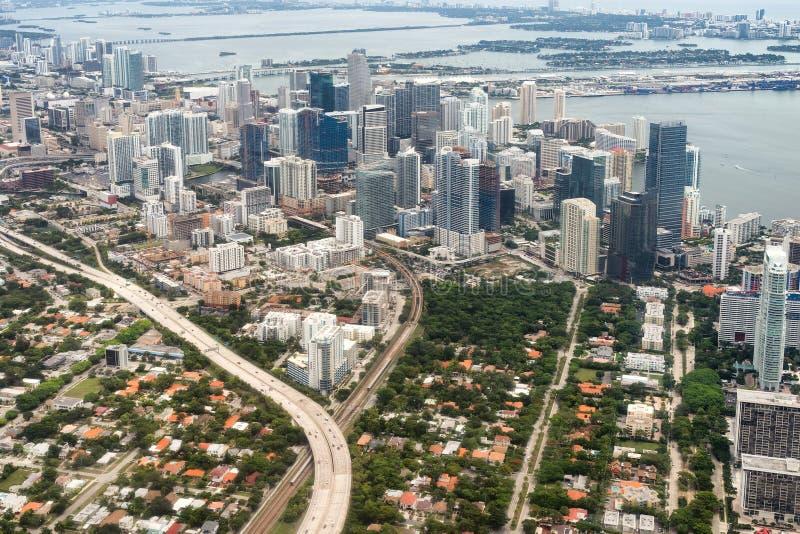 街市迈阿密鸟瞰图 免版税库存图片