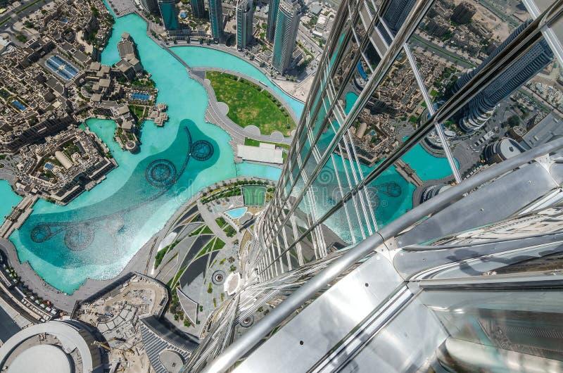 街市迪拜,阿拉伯联合酋长国的鸟瞰图 免版税图库摄影