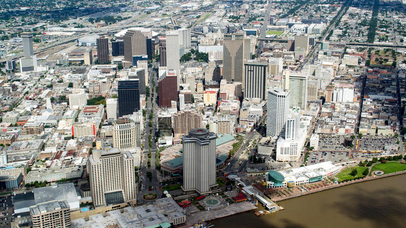 街市,新奥尔良,路易斯安那鸟瞰图  免版税库存照片