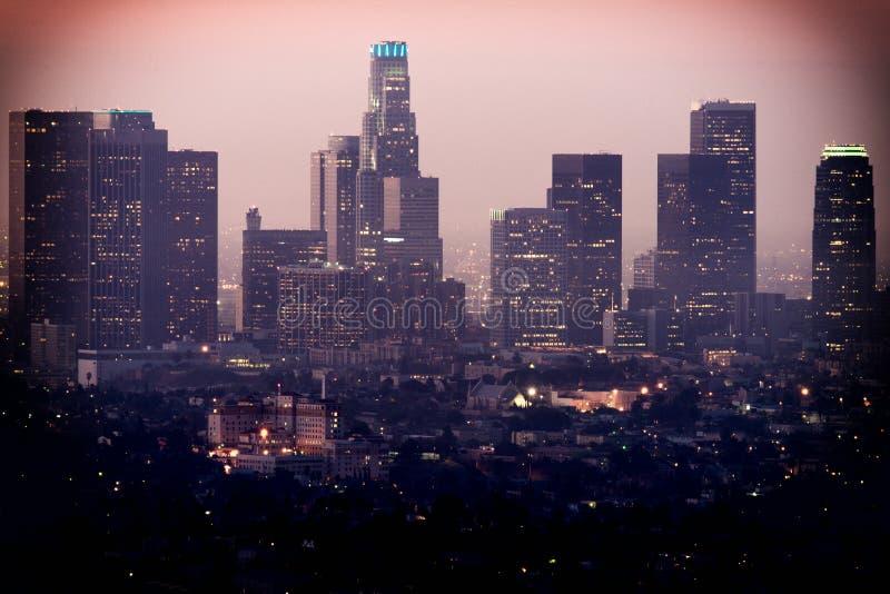 街市洛杉矶如被看见从格里菲斯观测所 图库摄影