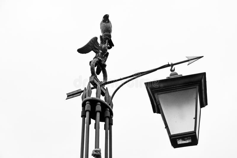 街灯在圣彼德堡 对彼得和保罗堡垒的入口 库存照片