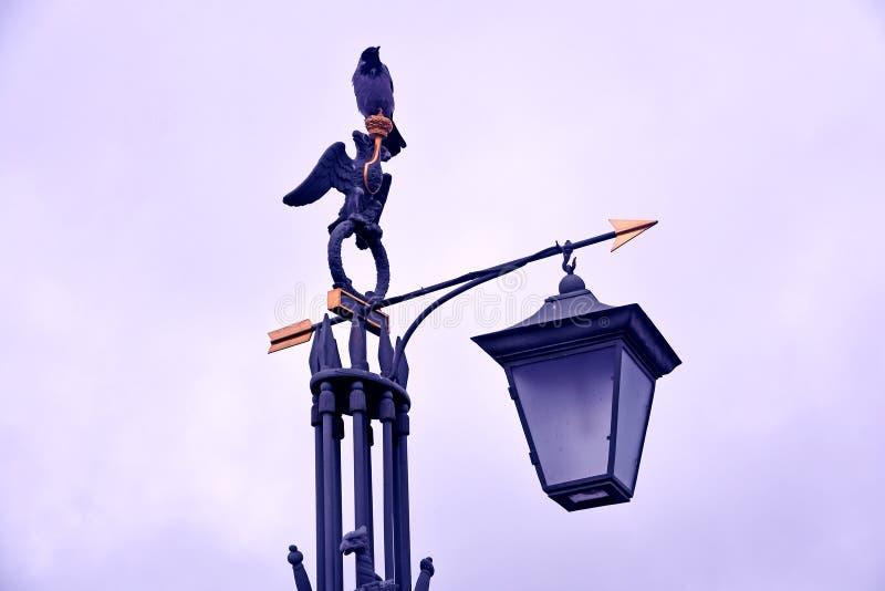 街灯在圣彼德堡 对彼得和保罗堡垒的入口 免版税库存照片