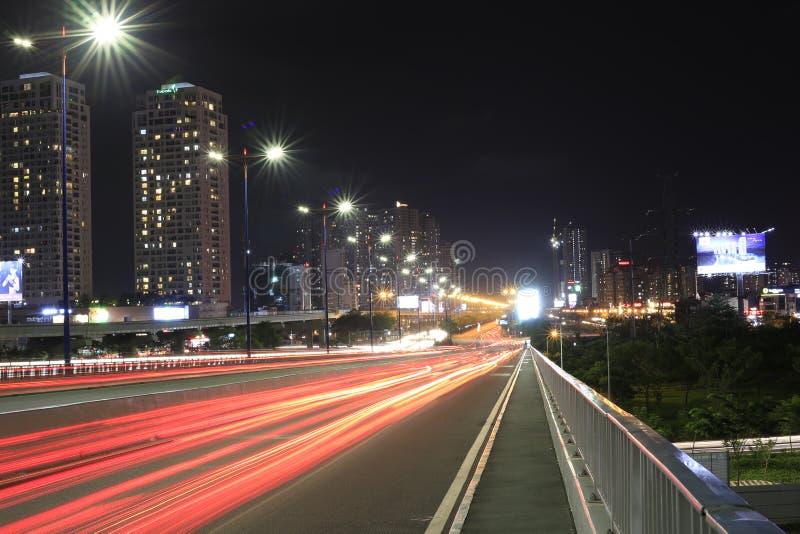 街灯在SAI GON BRIGDGE中在越南 库存照片