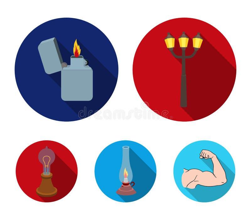 街灯,打火机,煤油灯,爱迪生灯  在平的样式的光源集合汇集象导航标志股票 库存例证