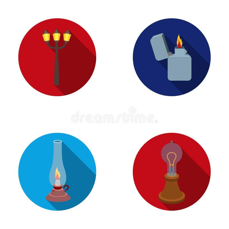 街灯,打火机,煤油灯,爱迪生灯  在平的样式的光源集合汇集象导航标志股票 皇族释放例证