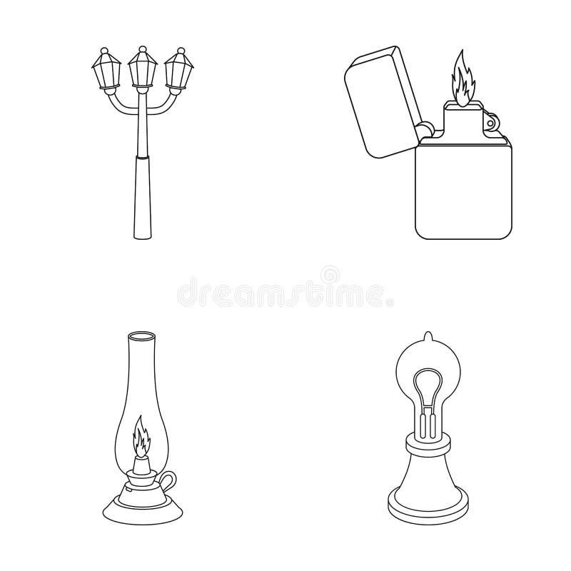 街灯,打火机,煤油灯,爱迪生灯  在概述样式的光源集合汇集象导航标志 库存例证