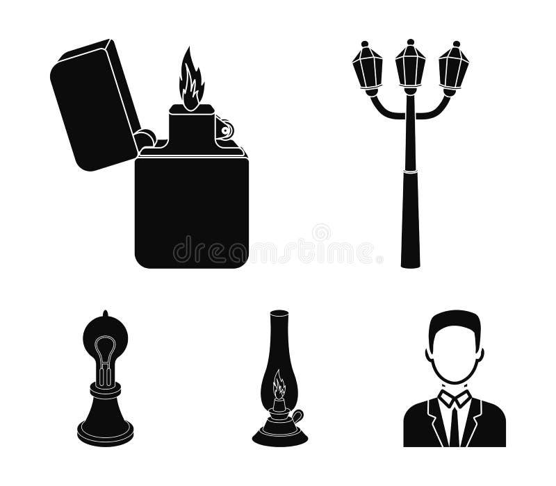 街灯,打火机,煤油灯,爱迪生灯  在黑样式的光源集合汇集象导航标志股票 库存例证