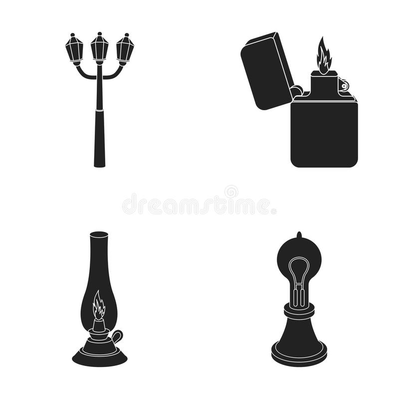 街灯,打火机,煤油灯,爱迪生灯  在黑样式的光源集合汇集象导航标志股票 皇族释放例证