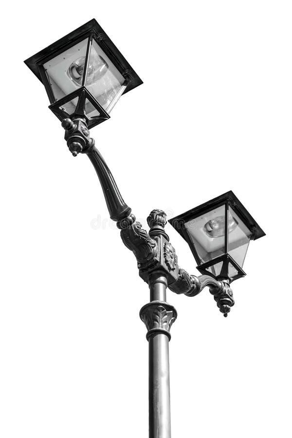 街灯,黑色被隔绝在白色背景 库存照片