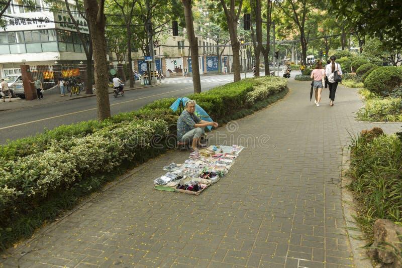 街边小贩在上海 库存照片