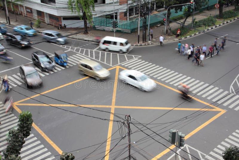 街道一个连接点的交通情况在雅加达,照片被采取的f 库存照片
