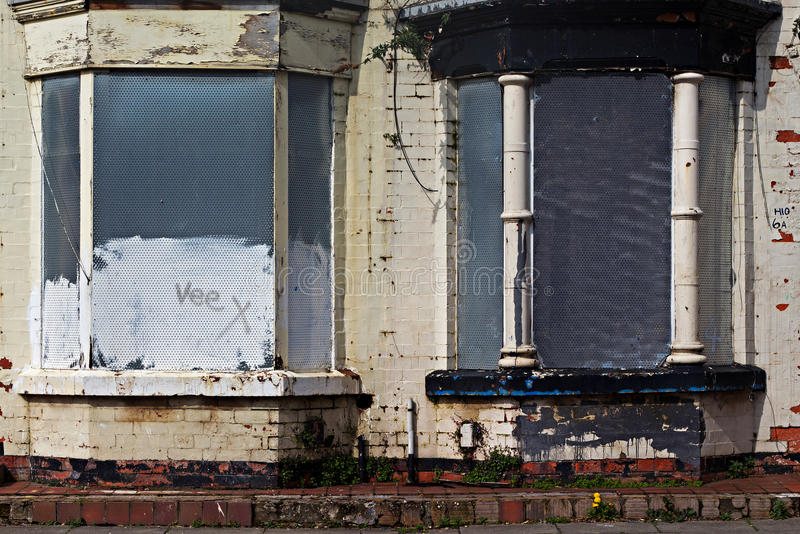 街道上遗弃房子 免版税库存照片