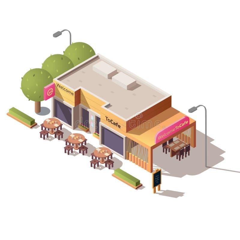 街道与室外大阳台传染媒介的咖啡馆大厦 向量例证