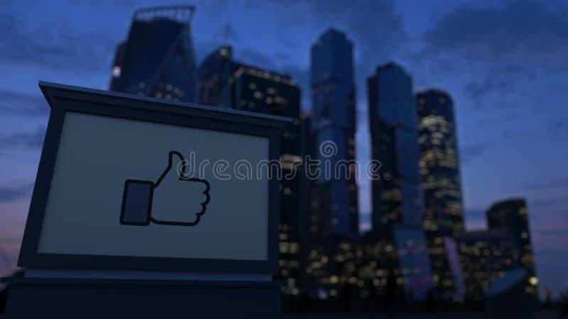 街道与Facebook的标志板喜欢按钮赞许 免版税库存照片