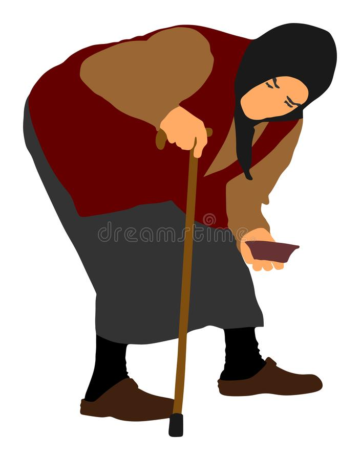 街道传染媒介例证的无家可归的叫化子 资深人乞求为食物或帮助 拐杖乞求的残疾老妇人 向量例证
