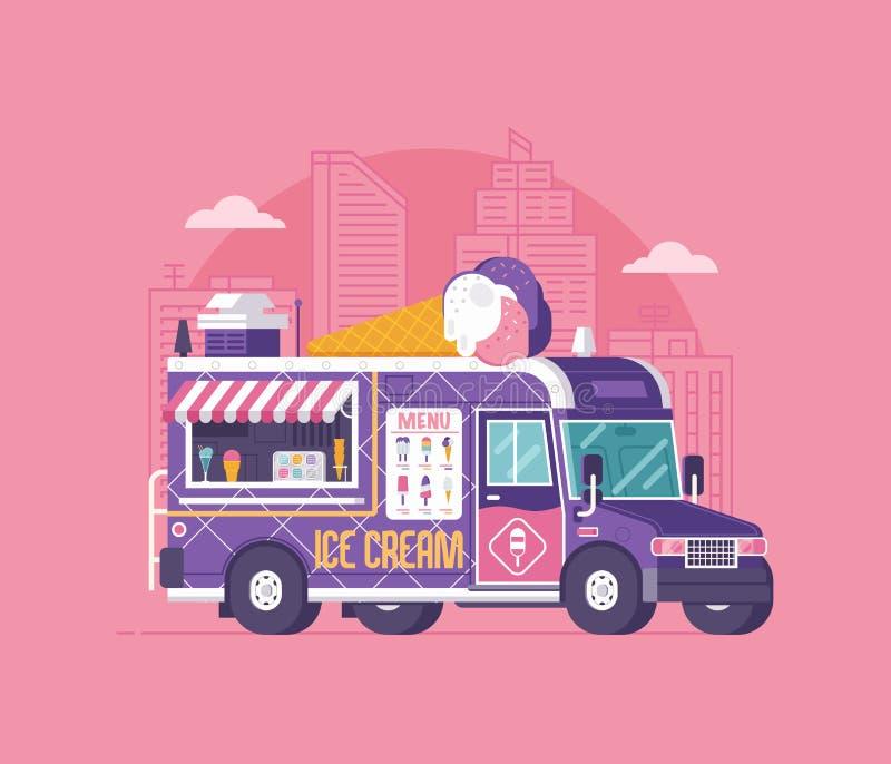 街道冰淇凌卡车例证 库存例证