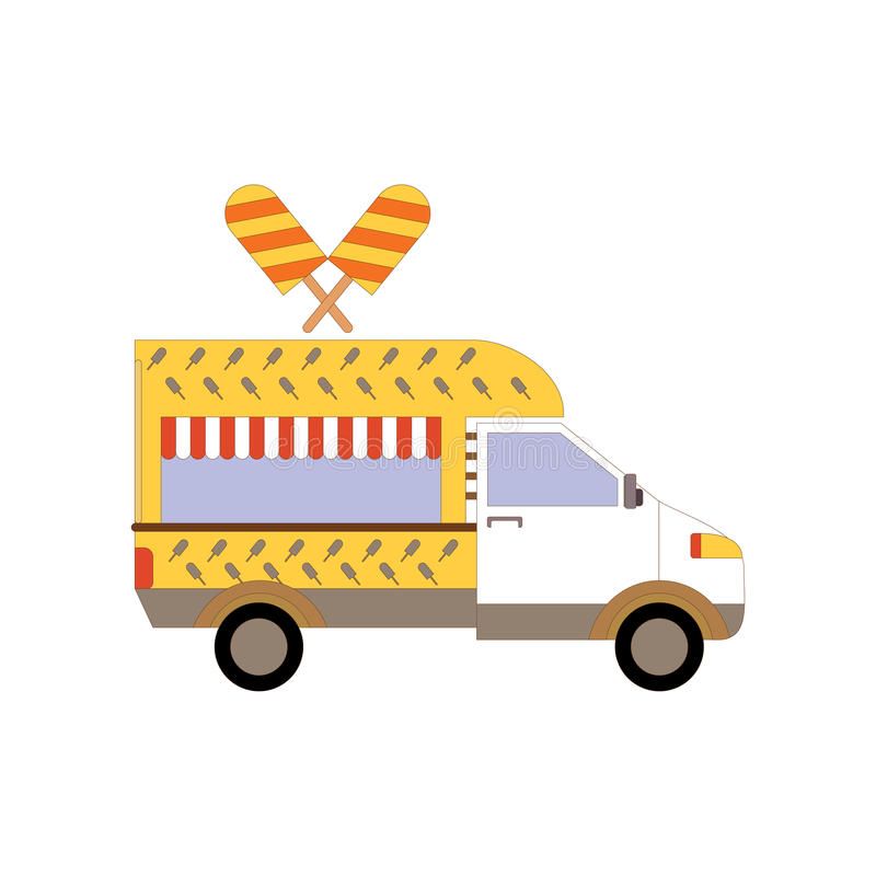 街道冰淇凌卡车,食物有蓬卡车 冰淇凌van delivery 平的象运输 向量例证EPS10 皇族释放例证