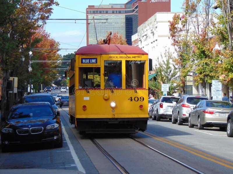 街道台车在街市小岩城阿肯色 库存图片