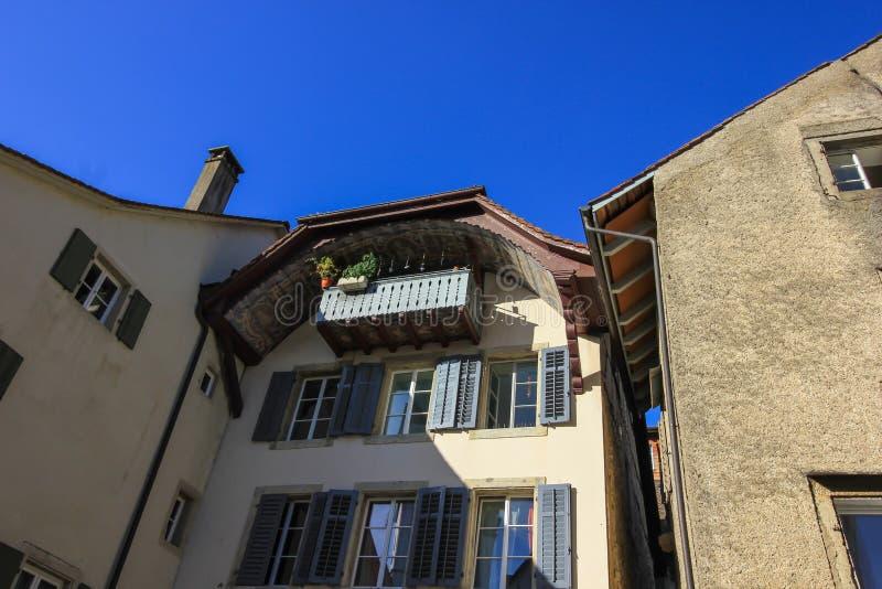 街道和大厦从阿劳,瑞士 库存图片