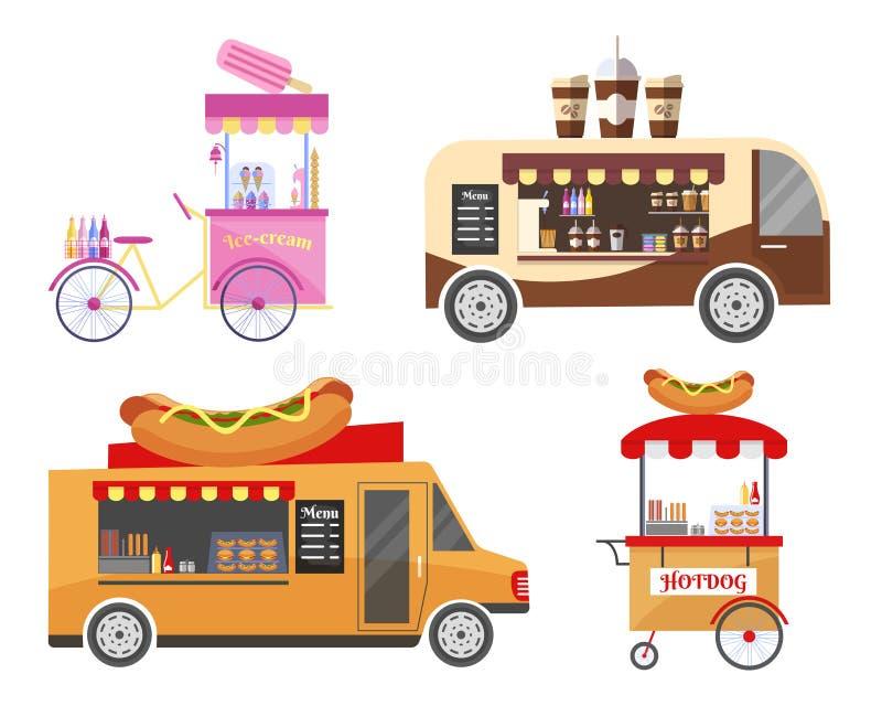 街道和快餐运输设备 皇族释放例证