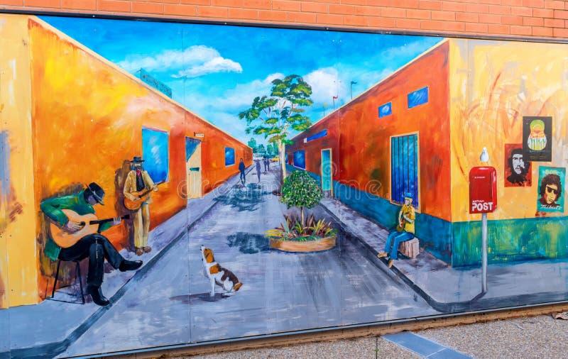 街道和街道音乐家的街道画 图库摄影