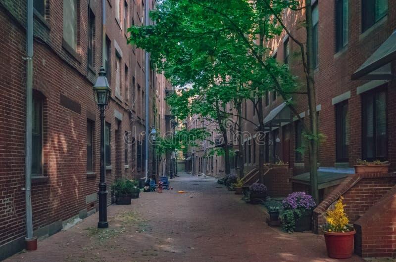 街道和议院北边的,波士顿,美国 免版税库存照片