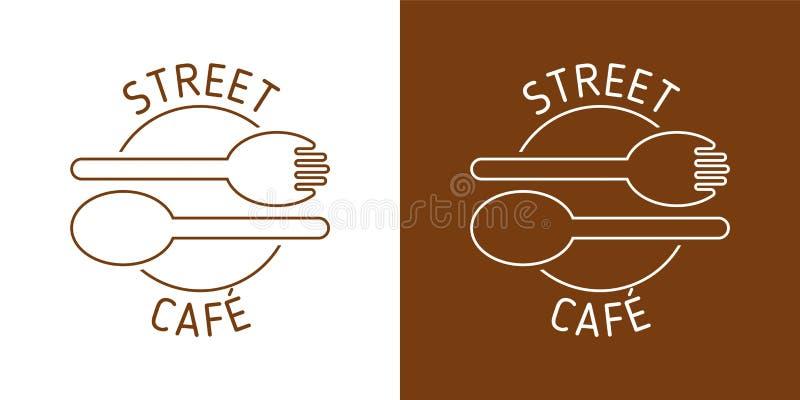 街道咖啡馆传染媒介商标 BROUN线传染媒介 匙子叉子图象 抽象象 向量例证