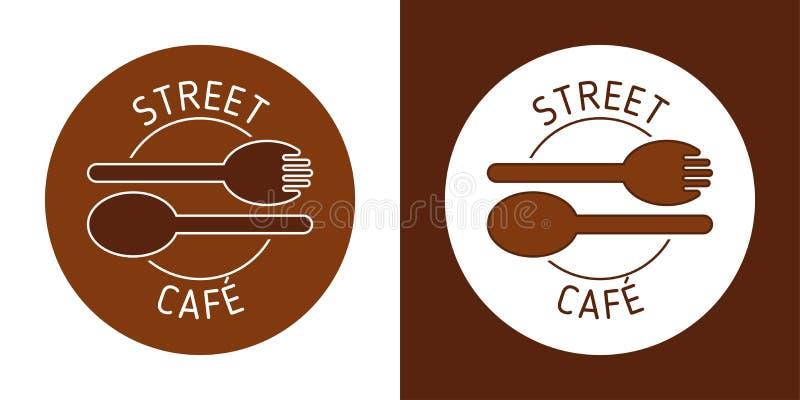 街道咖啡馆传染媒介商标 BROUN线传染媒介 匙子叉子图象 抽象象 皇族释放例证