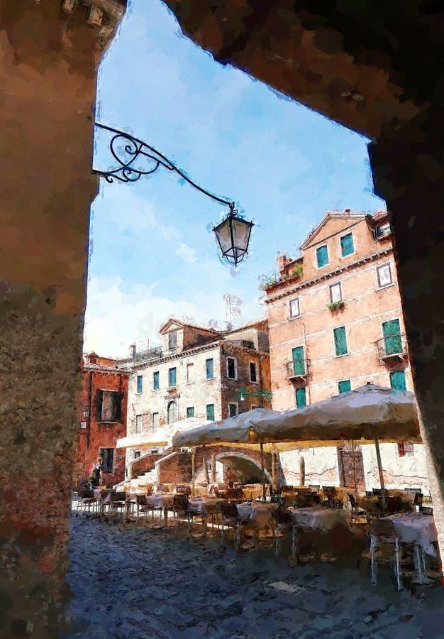 街道咖啡馆在威尼斯意大利 在绘的样式的数字例证 皇族释放例证