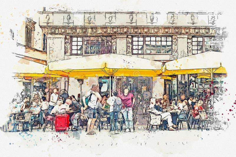 街道咖啡馆在莱比锡在德国 库存例证