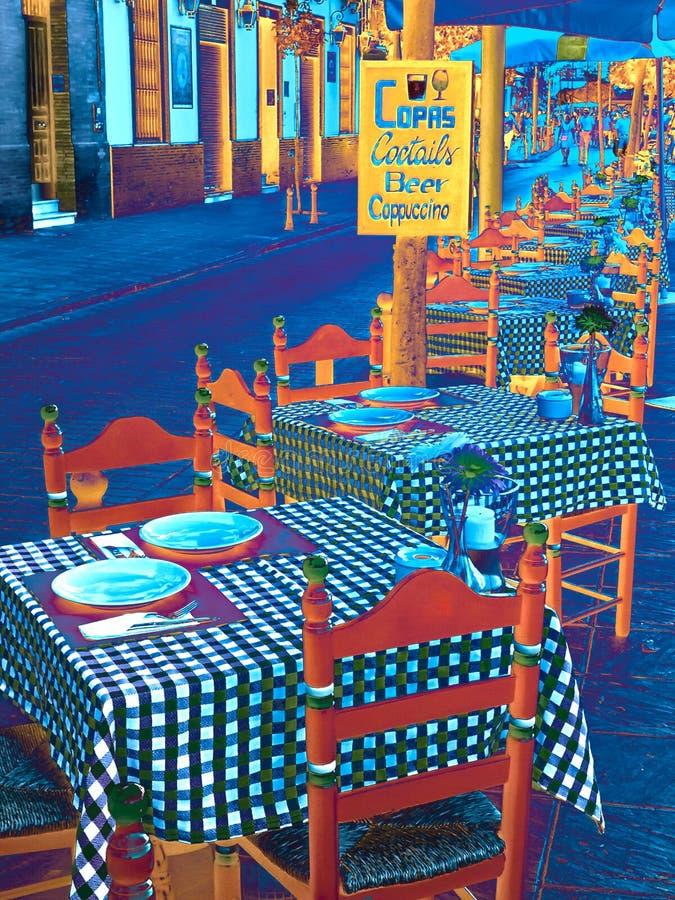 街道咖啡馆欧洲绘抽象背景的市照片 库存照片