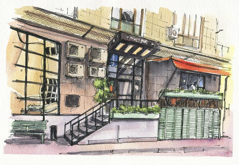 街道咖啡馆的都市剪影 向量例证
