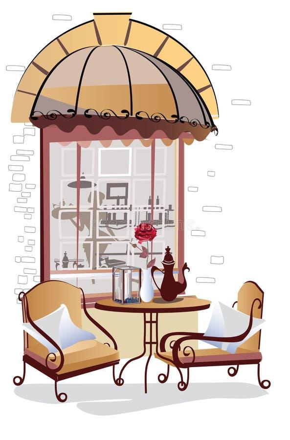 街道咖啡馆视图和玫瑰系列  皇族释放例证