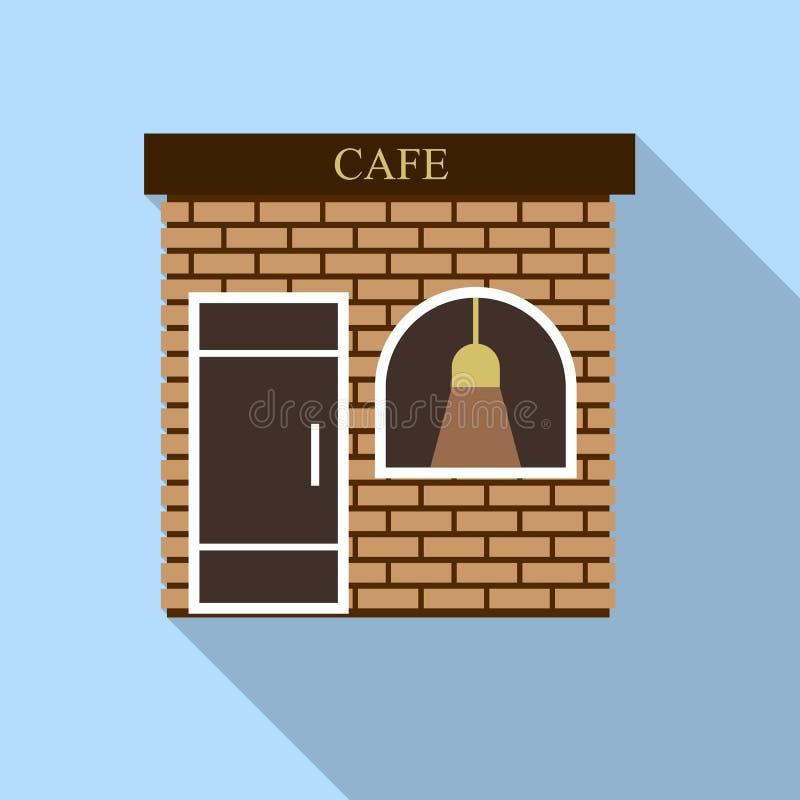 街道咖啡馆象,平的样式 库存例证