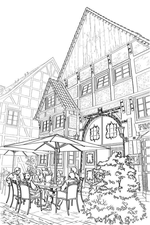 街道咖啡馆 皇族释放例证