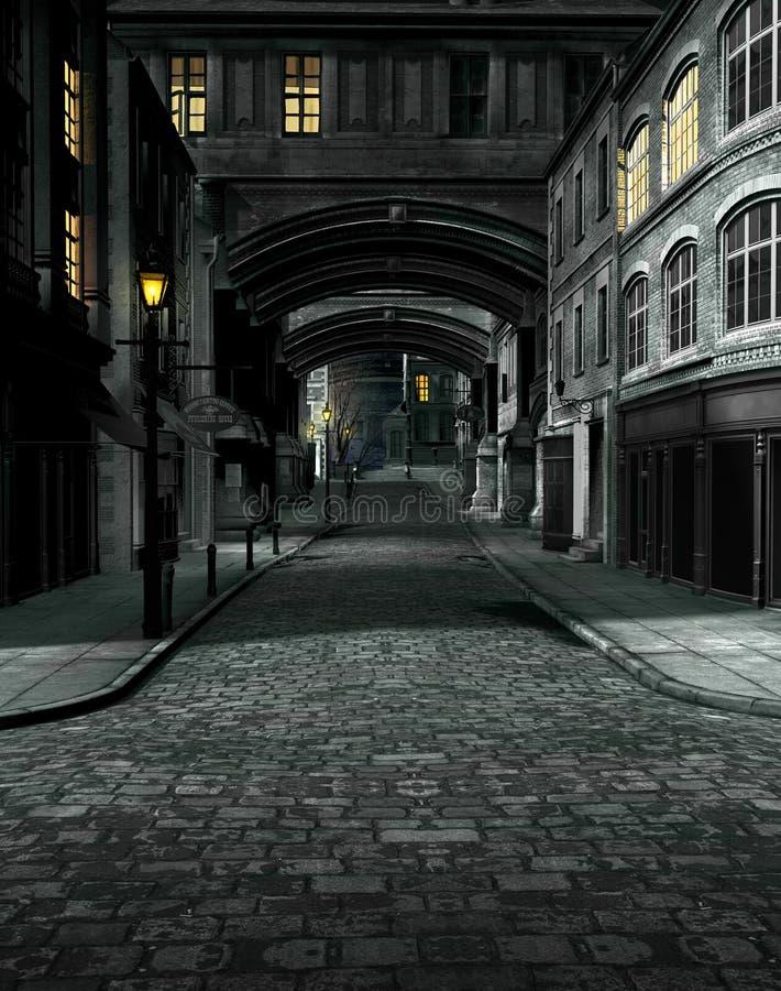 街道在与19世纪城市大厦的晚上 库存例证