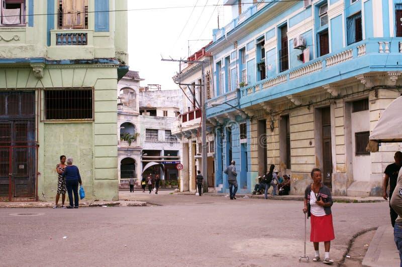 街道在中央哈瓦那在古巴 免版税图库摄影