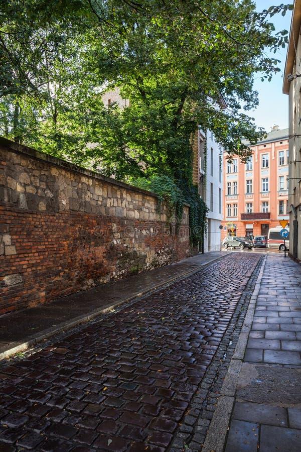街道在卡济梅尔兹老犹太区在克拉科夫 免版税图库摄影