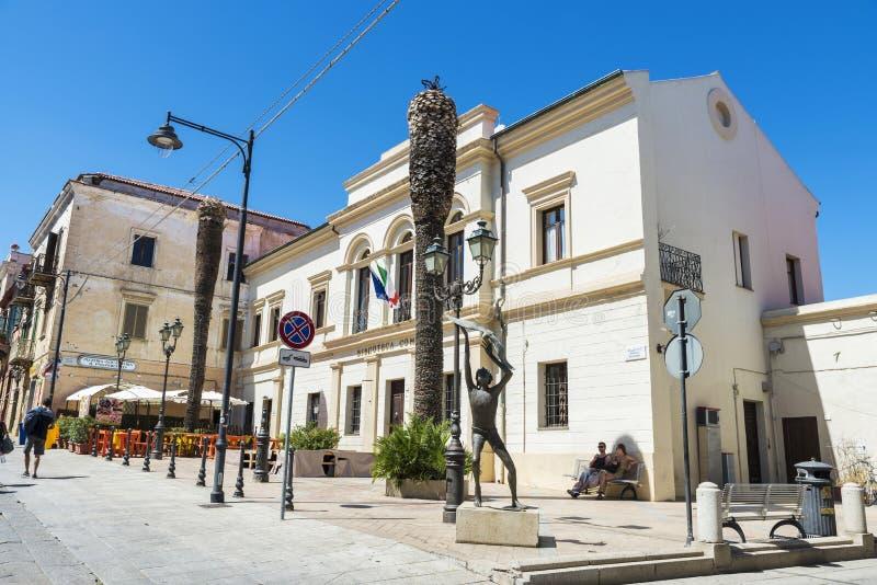 街道在奥尔比亚,撒丁岛,意大利 库存图片