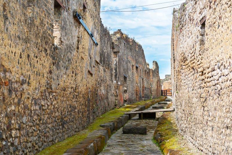 街道在庞贝城,意大利 免版税库存图片