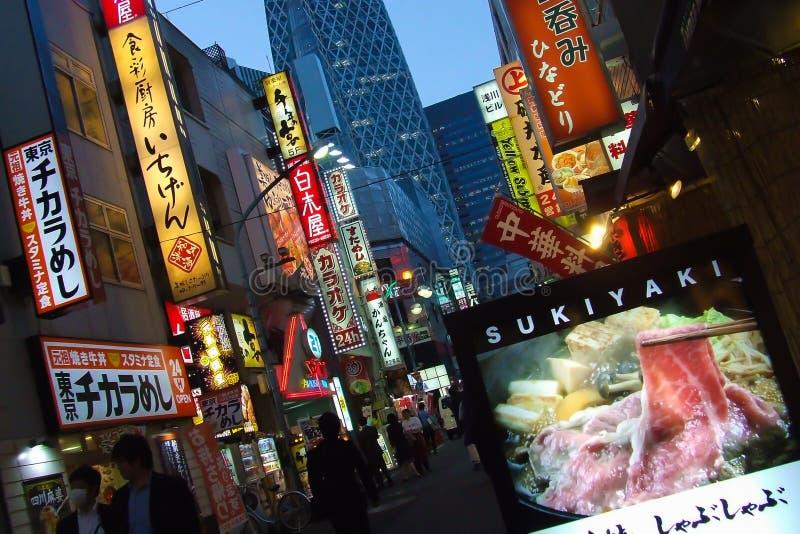 街道在新宿,东京,日本 图库摄影