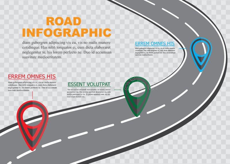 街道在方格的背景,与五颜六色的别针尖,传染媒介例证的企业infographics的路线图 库存例证