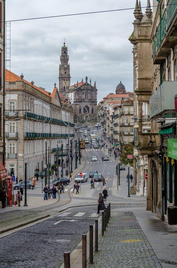 街道在波尔图,葡萄牙的中心  免版税图库摄影